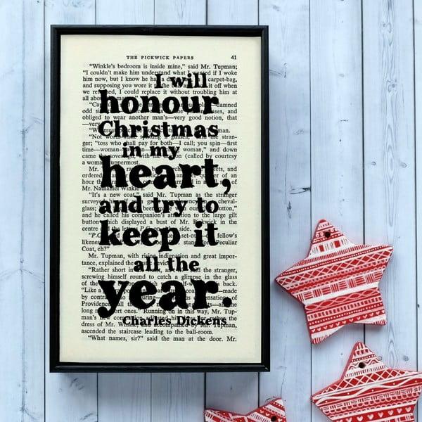 Plagát v drevenom ráme Dickens Christmas