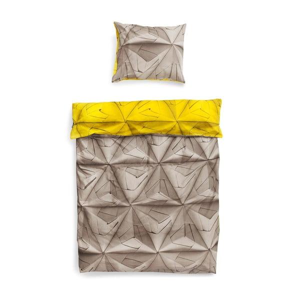 Žlto-hnedé obliečky Snurk Monogami, 140 x 200 cm