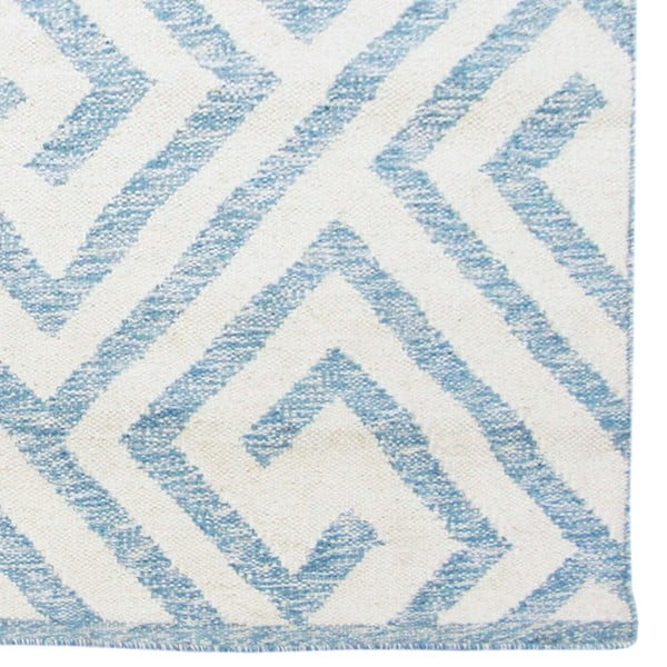Ručne tkaný koberec Kilim Design 69 Blue/White, 160x230 cm