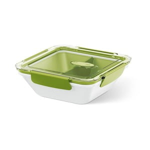 Krabička na potraviny Rectangular White/Green, 0,9 l