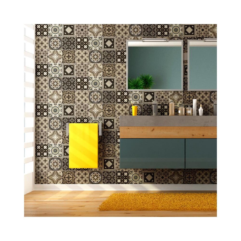 Sada 9 nástenných samolepiek Ambiance Wall Decal Tiles Azulejos Pompei, 20 × 20 cm