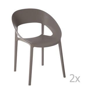 Sada 2 sivo-béžových stoličiek J-Line Lola