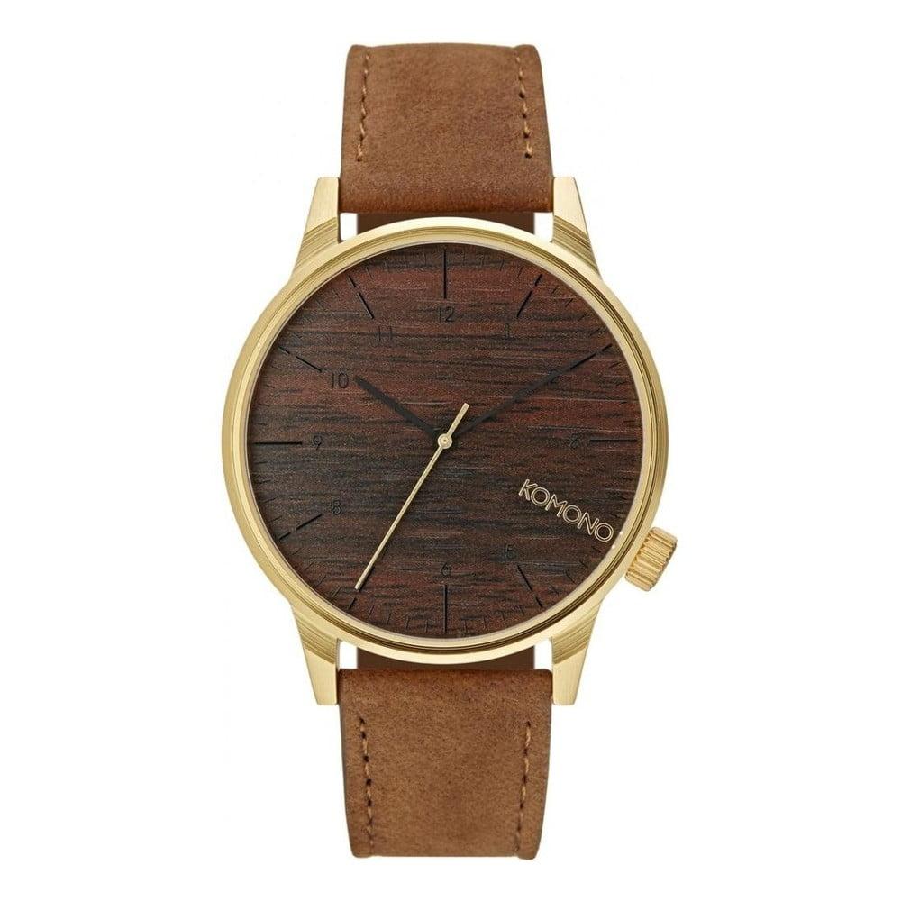 Pánske hnedé hodinky s koženým remienkom a ciferníkom v dekore dreva Komono a87e6226e61