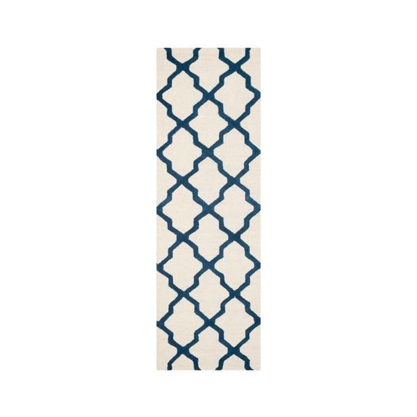 Vlnený koberec Ava White Navy, 76x243 cm