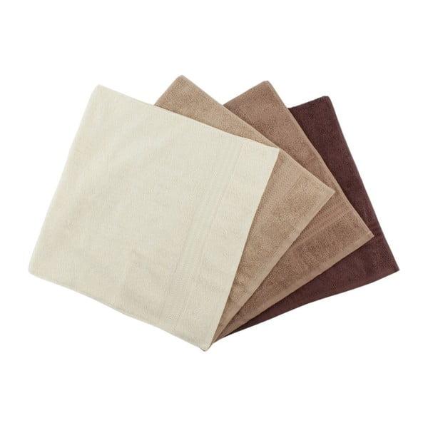 Sada 4 hnedých bavlnených uterákov Rainbow Home, 50×90cm