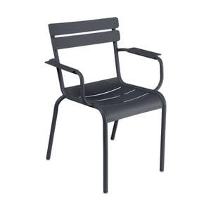 Antracitovosivá záhradná stolička s opierkami Fermob Luxembourg