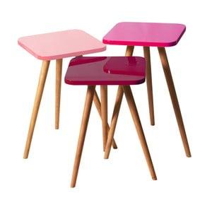Sada 3 odkladacích stolíkov Kate Louise Square (ružový, fialový, tmavofialový)