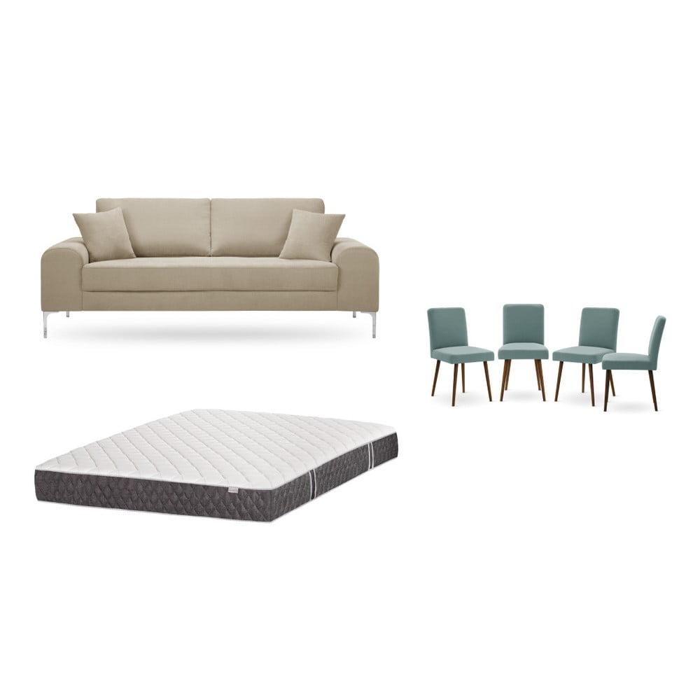 Set trojmiestnej sivobéžovej pohovky, 4 sivozelených stoličiek a matraca 160 × 200 cm Home Essentials