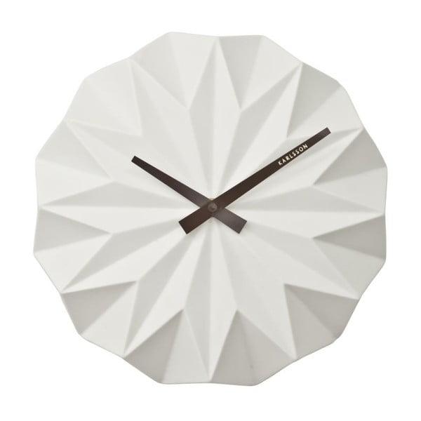 Biele nástenné hodiny Present Time Origami Ceramic