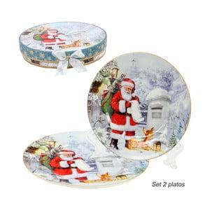Sada 2 porcelánových vianočných tanierov Unimasa Santa Claus, ø 20,3 cm