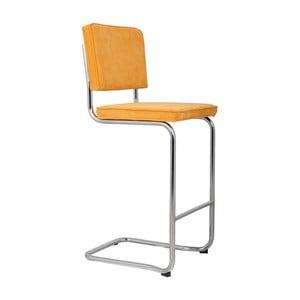 Žltá barová stolička Zuiver Ridge Kink Rib