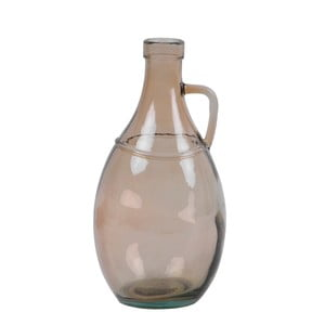 Dymovohnedá sklenená váza s uchom z recyklovaného skla Ego Dekor, výška 26 cm