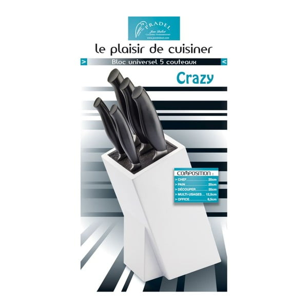 Set 5 nožov a bloku na nože Jean Dubost Crazy Blanc