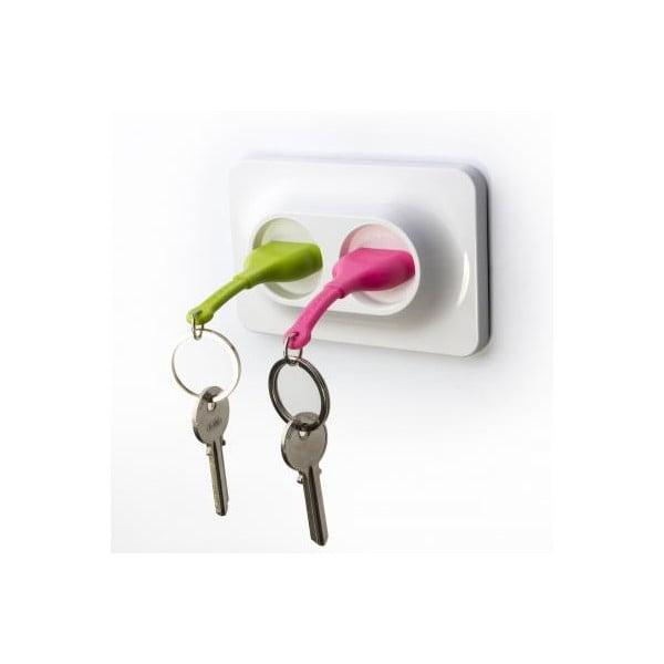 Nástenný držiak so zelenou a ružovou kľúčenkou Qualy Double Unplug