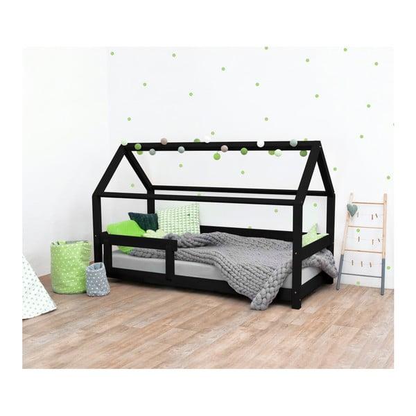 Čierna detská posteľ s bočnicami zo smrekového dreva Benlemi Tery, 90×200 cm