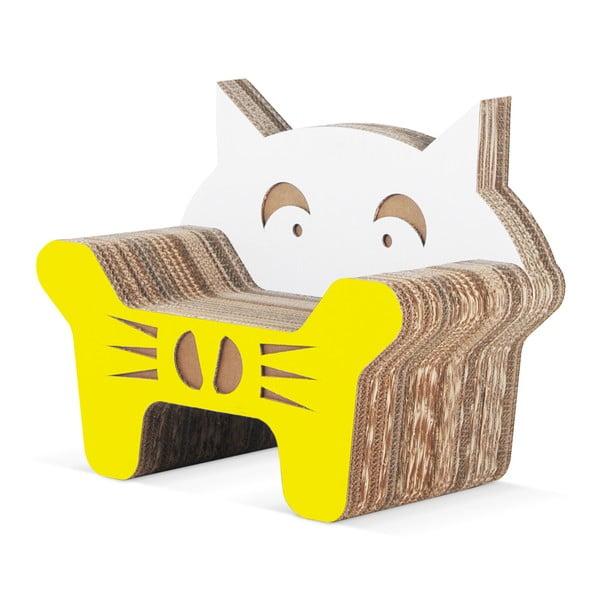 Dětské kartónové kresielko Gatto Yellow