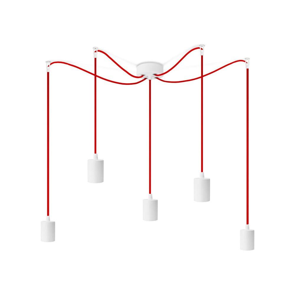 Biele závesné svietidlo s 5 červenými káblami Bulb Attack Cero