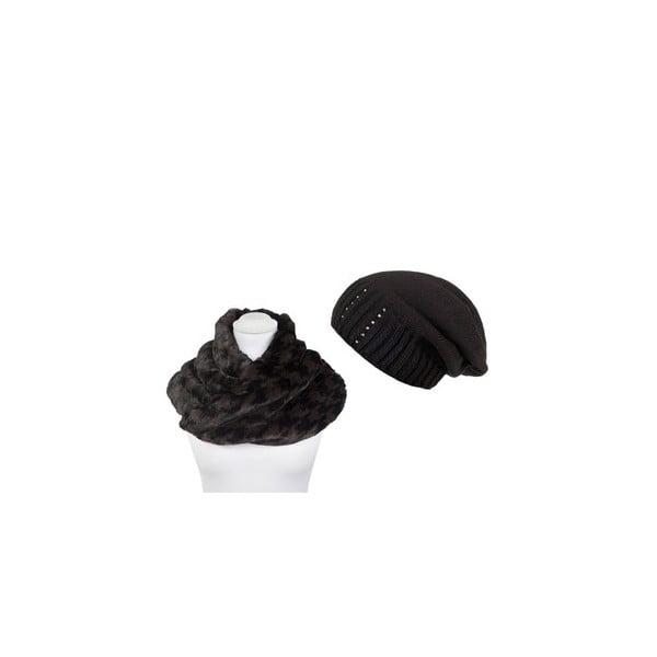 Čiapka so šálom Black Fur