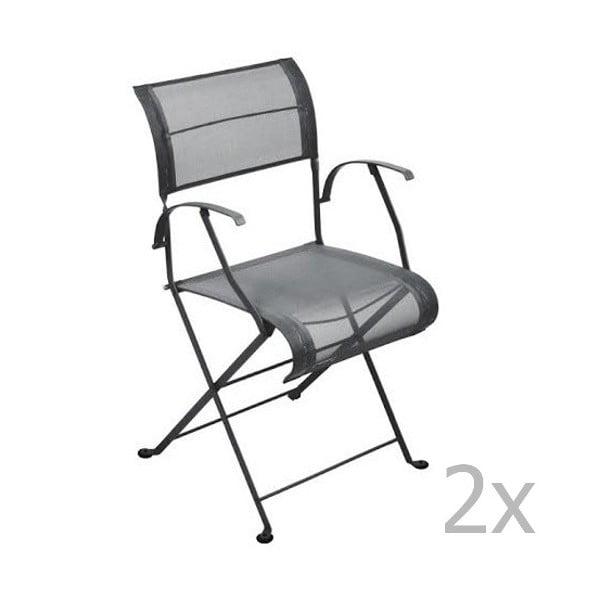 Sada 2 antracitových skladacích stoličiek s opierkami na ruky Fermob Dune