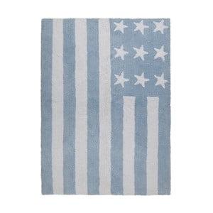 Modrý bavlnený ručne vyrobený koberec Lorena Canals USA, 120 x 160 cm