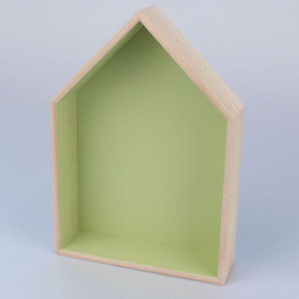 Závesná polička Domček 21x30 cm, zelená