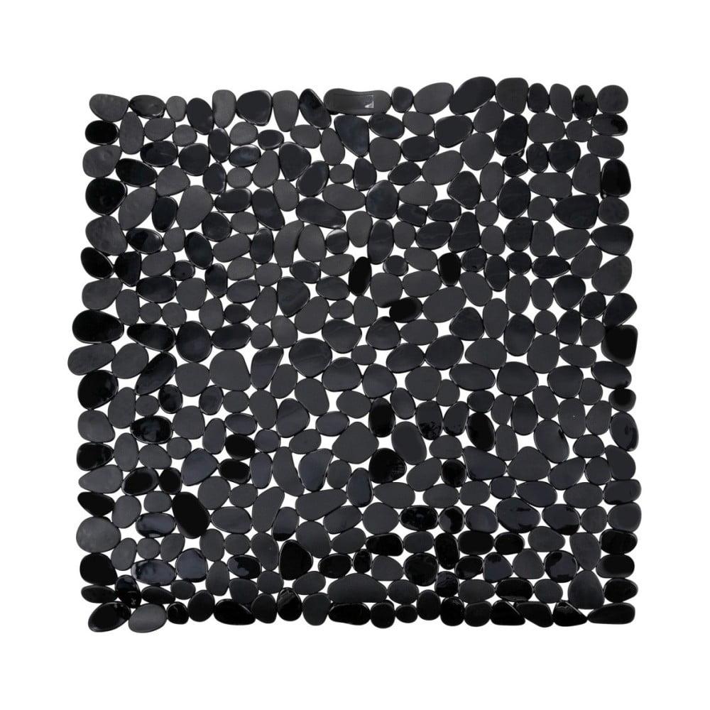 Čierna protišmyková kúpeľňová podložka Wenko Drop, 54 x 54 cm