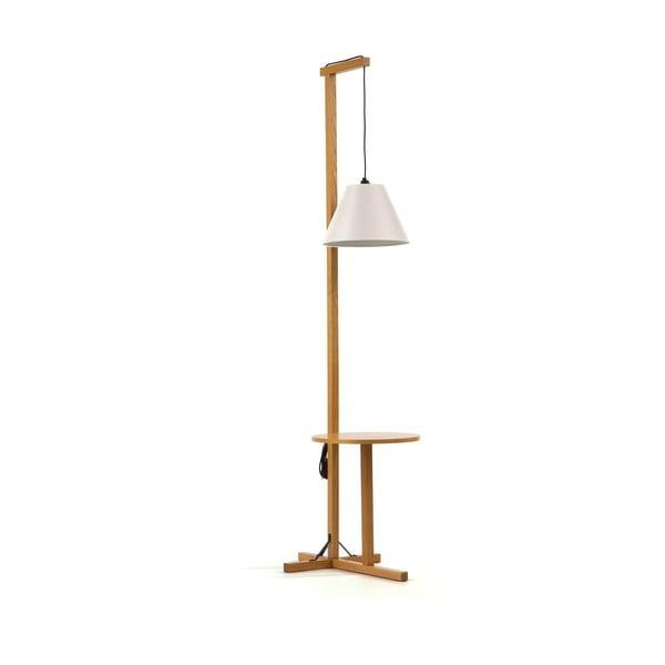 Čierna stojacia lampa s drevenou konštrukciou Woodman Floor