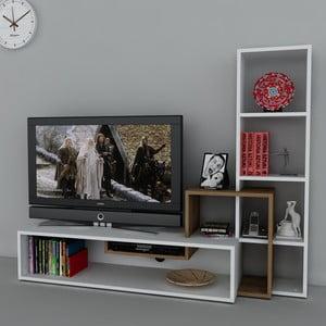 Televizna stena Stab White/Walnut, 39x143,6x123,4 cm