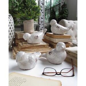 Sada 4 dekoratívnych vtákov Antique White