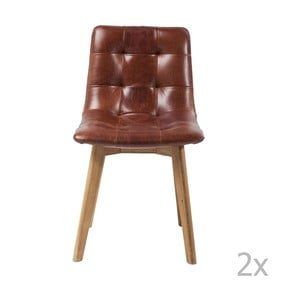 Sada 2 stoličiek s koženým sedákom Kare Design Moritz