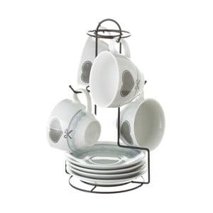 Sada 4 porcelánových šálok s podšálkami na kovovom stojane Unimasa Heart Grey