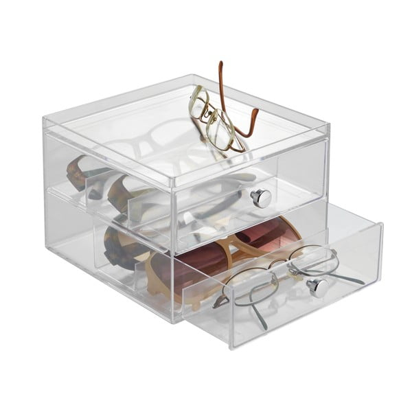 Transparentný úložný box s 2 zásuvkami InterDesign Drawers, výška 12,5 cm