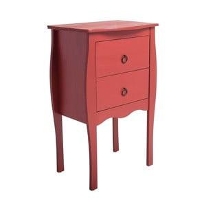 Červený odkladací stolík s 2 zásuvkami zborovicového dreva SOB Oculus