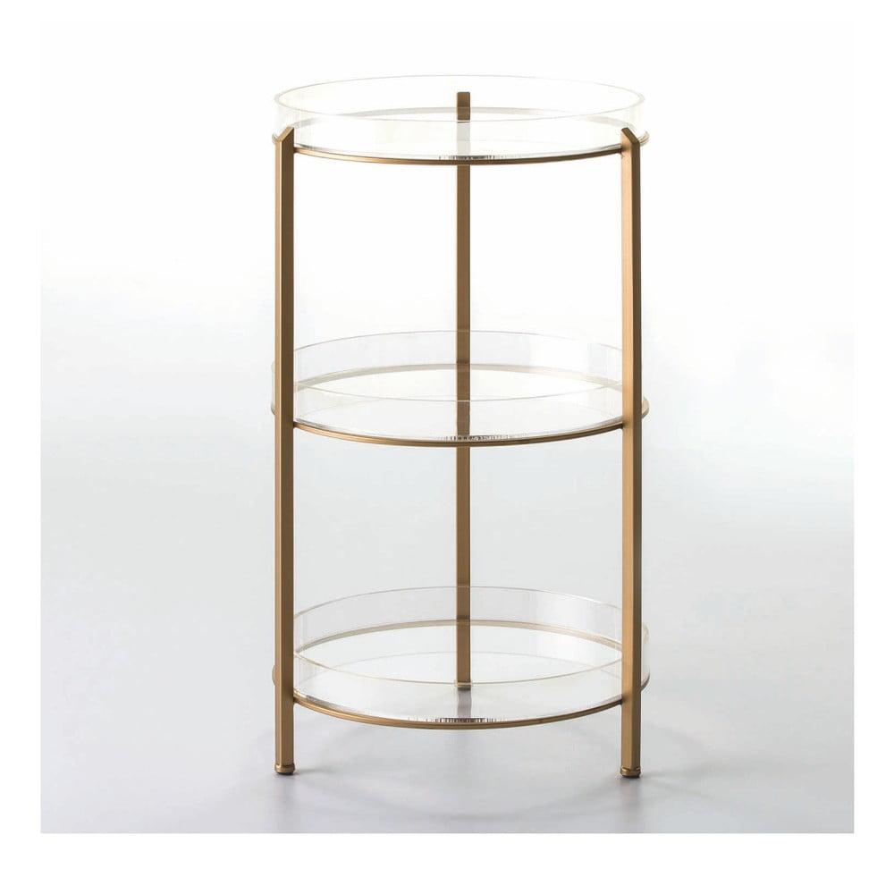 3-poschodový odkladací stolík v zlatej farbe, 40 × 73 cm