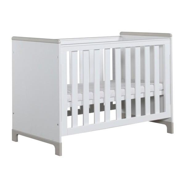 Bielo-sivá detská postieľka Pinio Mini, 120×60cm