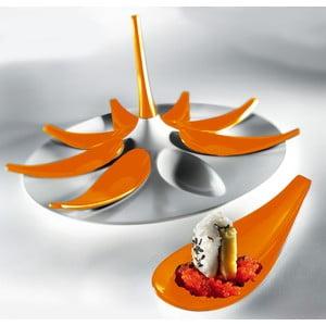 Bielo-oranžový servírovací set na jednohubky Entity