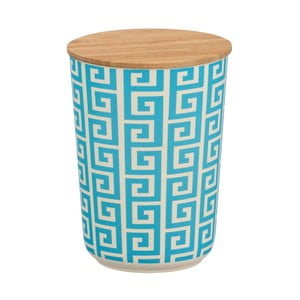 Modrobiely úložný box s bambusovým vekom Wenko Edge, 700 ml