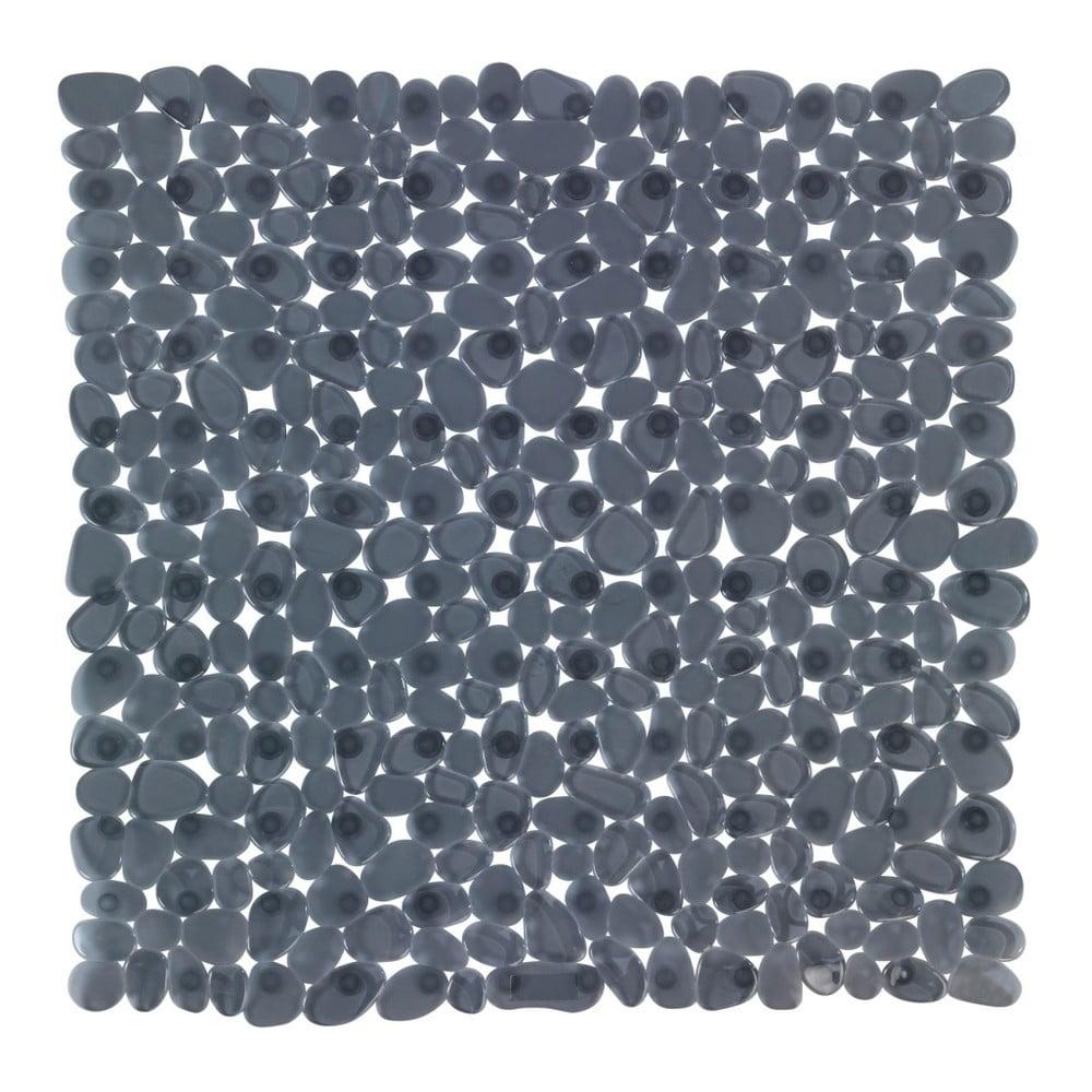 Antracitovosivá protišmyková kúpeľňová podložka Wenko Drop, 54 × 54 cm