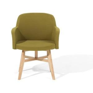 Zelené kreslo s nohami z kaučukového dreva Monobeli Zanda