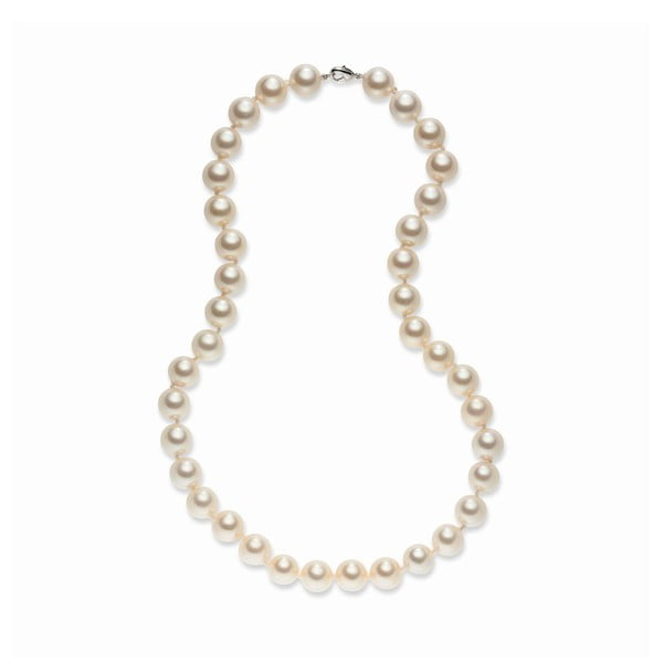 Svetlooranžový perlový náhrdelník Pearls Of London Sea, dĺžka 52 cm