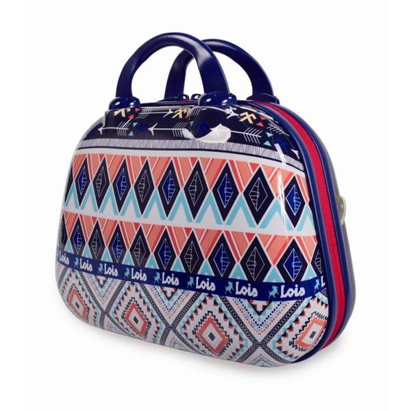 Modrý cestovný kozmetický kufrík s farebnými vzormi Lois