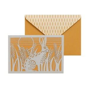 Sada 10 komplimentiek s obálkami Portico Designs FOIL Folklore Hare
