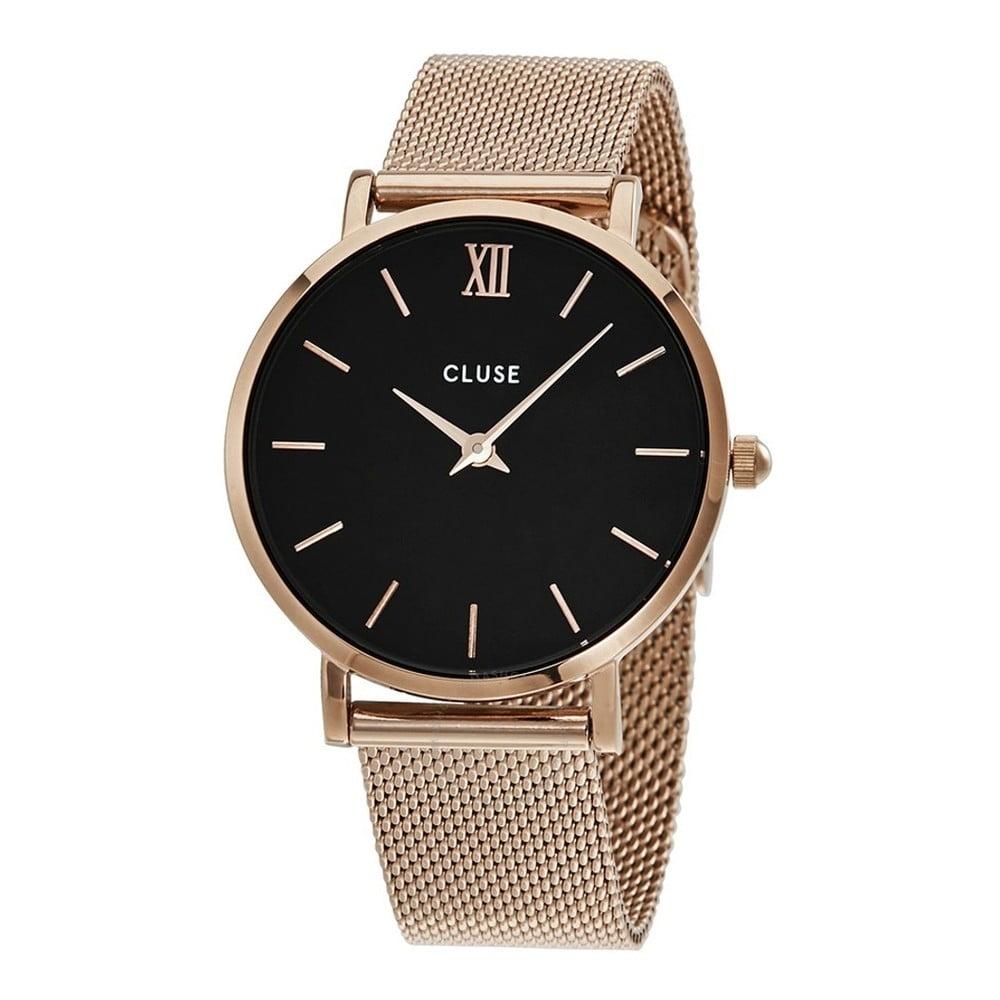 Dámske hodinky s čiernym ciferníkom Cluse Minuit Rose Gold  18692f462f