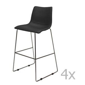Sada 4 čiernych barových stoličiek Canett Delta