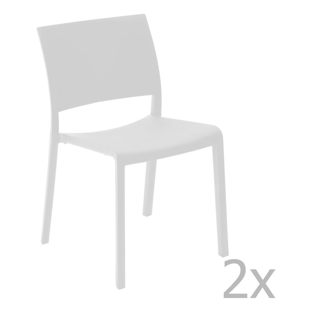 Sada 2 bielych záhradných jedálenských stoličiek Resol Fiona