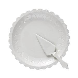 Sada bieleho tortového taniera a lopatky Ladelle Bake