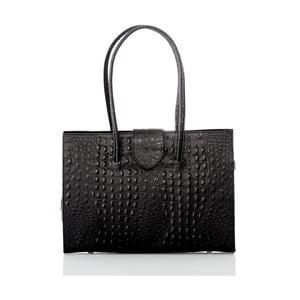 Čierna kožená kabelka Glorious Black Manu