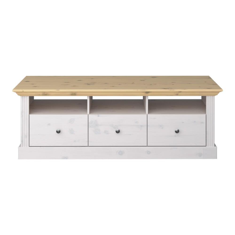 Biely TV stolík z borovicového dreva s hnedou doskou Steens Monaco Leached