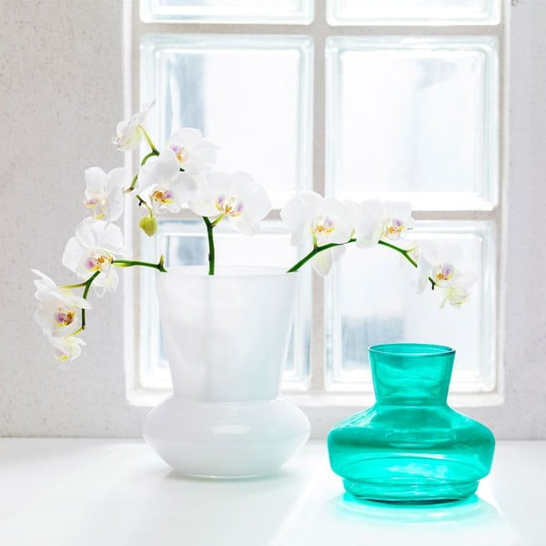 Dvojdielna váza Duo, biela/tyrkysová