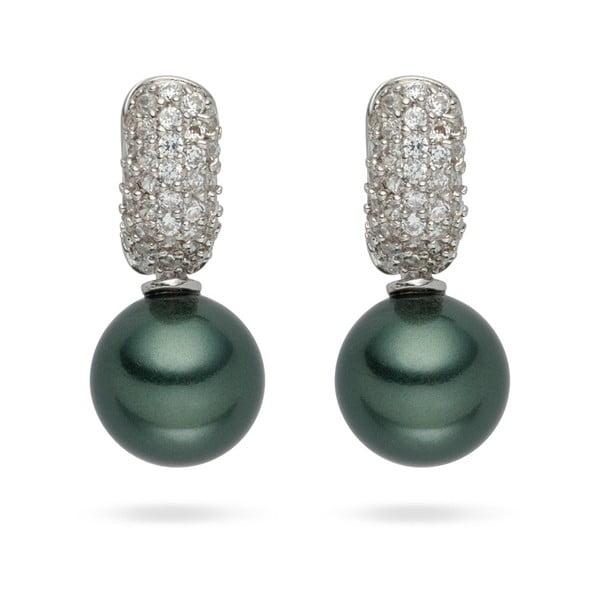 Tmavozelené perlové náušnice Nova Pearls Copenhagen Helene